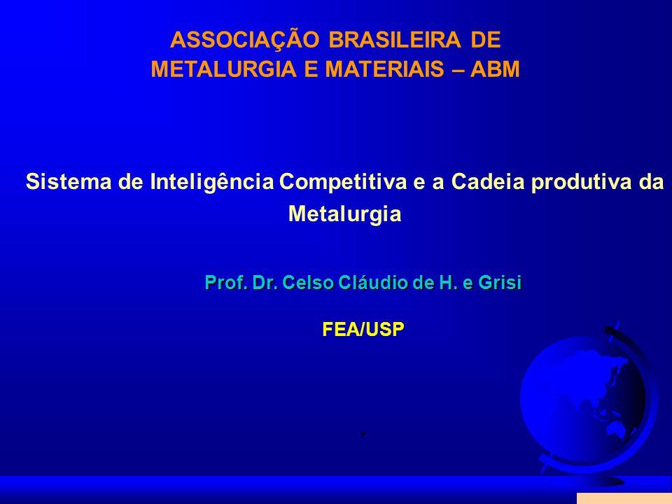 ASSOCIAÇÃO BRASILEIRA DE METALURGIA E MATERIAIS – ABM Prof. Dr. Celso Cláudio de H. e Grisi FEA/USP * Sistema de Inteligência Competitiva e a Cadeia p