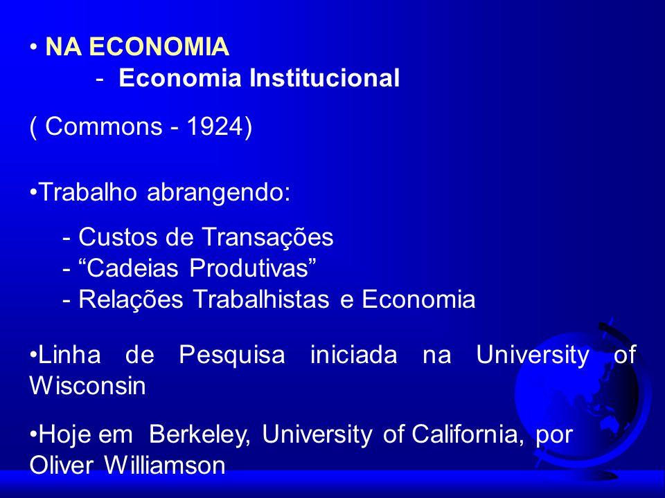 NA ECONOMIA - Economia Institucional ( Commons - 1924) Trabalho abrangendo: - Custos de Transações - Cadeias Produtivas - Relações Trabalhistas e Econ