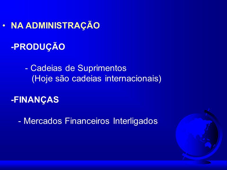 NA ADMINISTRAÇÃO -PRODUÇÃO - Cadeias de Suprimentos (Hoje são cadeias internacionais) -FINANÇAS - Mercados Financeiros Interligados
