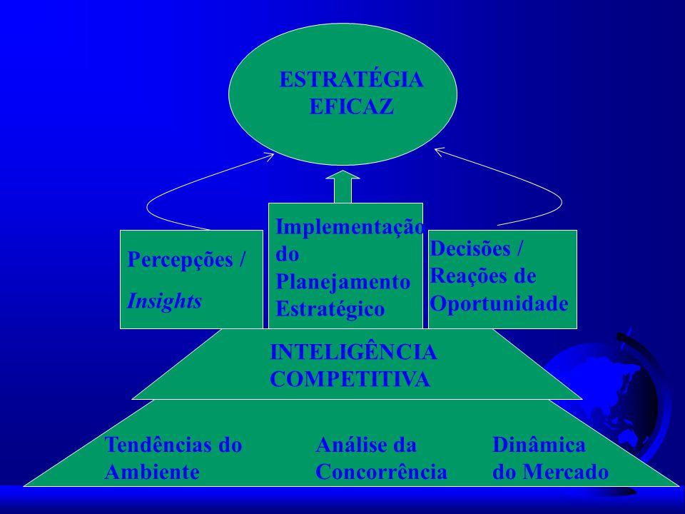 Tendências do Ambiente Análise da Concorrência Dinâmica do Mercado INTELIGÊNCIA COMPETITIVA Percepções / Insights Implementação do Planejamento Estrat