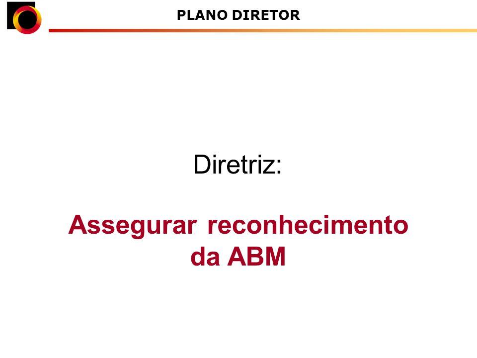 Assegurar reconhecimento da ABM Diretriz: PLANO DIRETOR