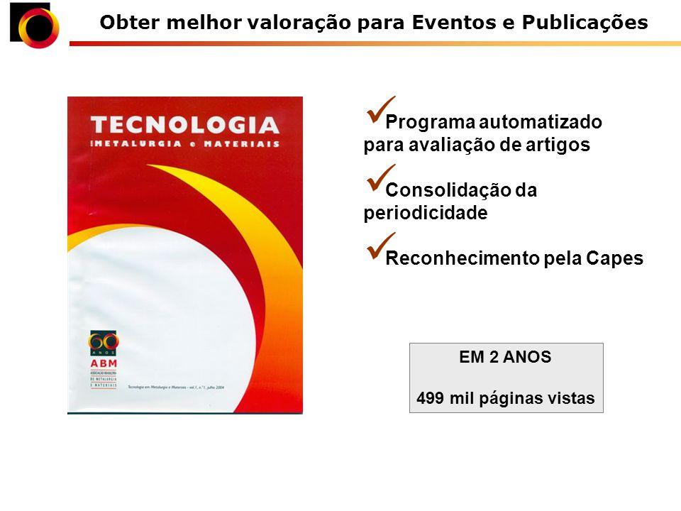 Obter melhor valoração para Eventos e Publicações Programa automatizado para avaliação de artigos Consolidação da periodicidade Reconhecimento pela Capes EM 2 ANOS 499 mil páginas vistas