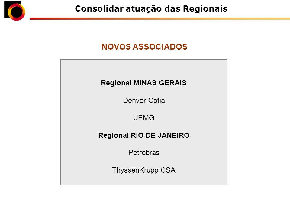 Consolidar atuação das Regionais Regional MINAS GERAIS Denver Cotia UEMG Regional RIO DE JANEIRO Petrobras ThyssenKrupp CSA NOVOS ASSOCIADOS