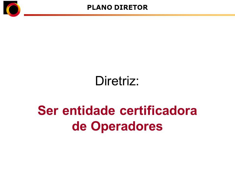 Ser entidade certificadora de Operadores Diretriz: PLANO DIRETOR