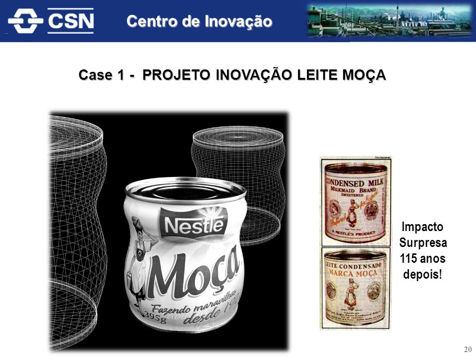 Impacto Surpresa 115 anos depois! Case 1 - PROJETO INOVAÇÃO LEITE MOÇA 20 Centro de Inovação