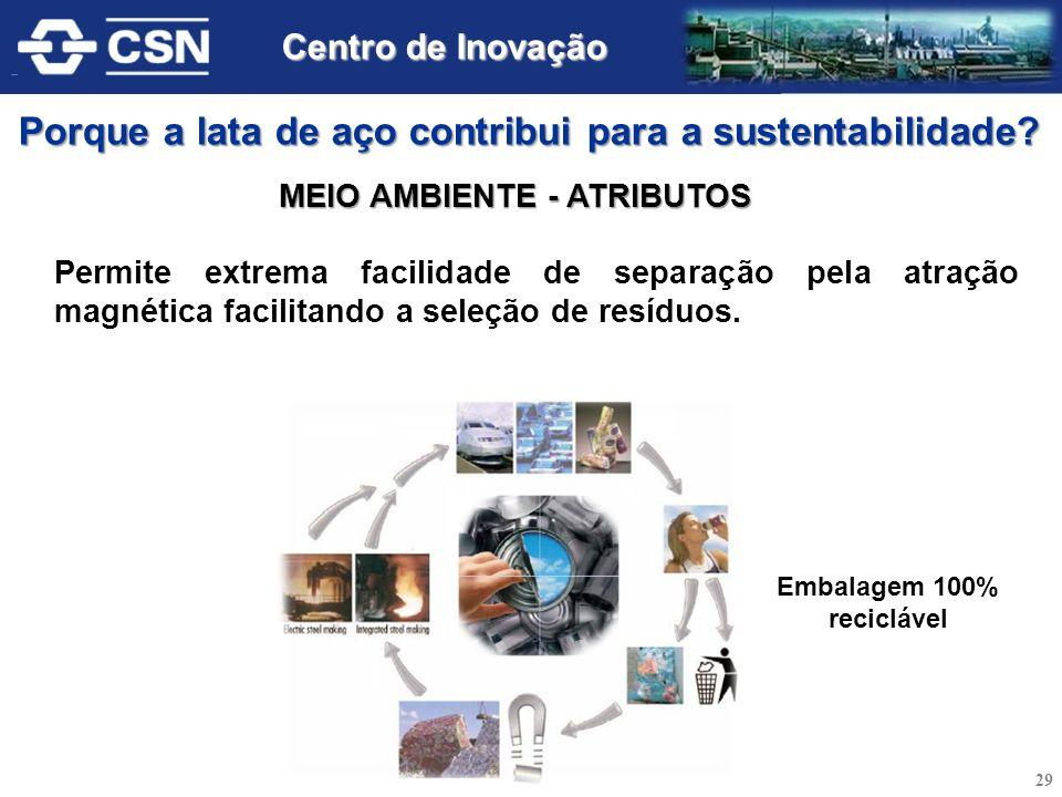 Permite extrema facilidade de separação pela atração magnética facilitando a seleção de resíduos. Embalagem 100% reciclável MEIO AMBIENTE - ATRIBUTOS