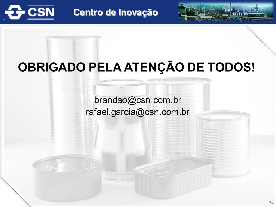 OBRIGADO PELA ATENÇÃO DE TODOS! brandao@csn.com.br rafael.garcia@csn.com.br 34 Centro de Inovação
