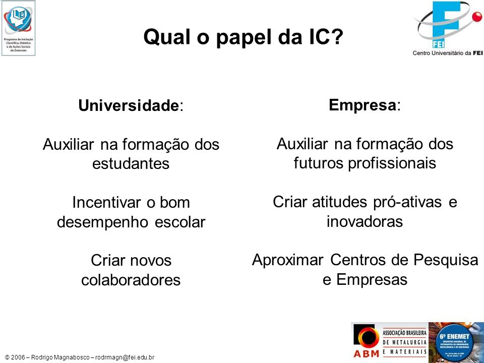 © 2006 – Rodrigo Magnabosco – rodrmagn@fei.edu.br Qual o papel da IC? Universidade: Auxiliar na formação dos estudantes Incentivar o bom desempenho es
