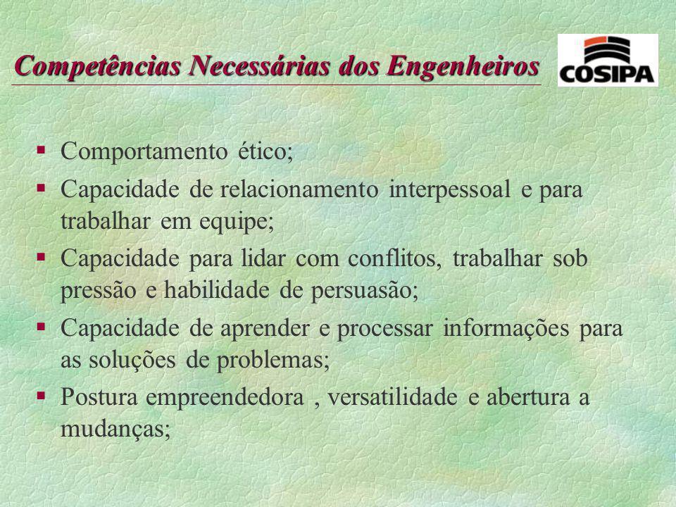 Competências Necessárias dos Engenheiros §Conhecimento técnico; §Desejável domínio de uma língua estrangeira; §Conhecimento de Informática; §Desejável