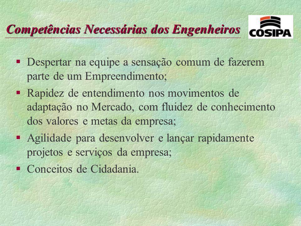 Competências Necessárias dos Engenheiros §Capacidade para pensar estrategicamente, curiosidade e interesse; §Domínio de métodos de pesquisa e planejam
