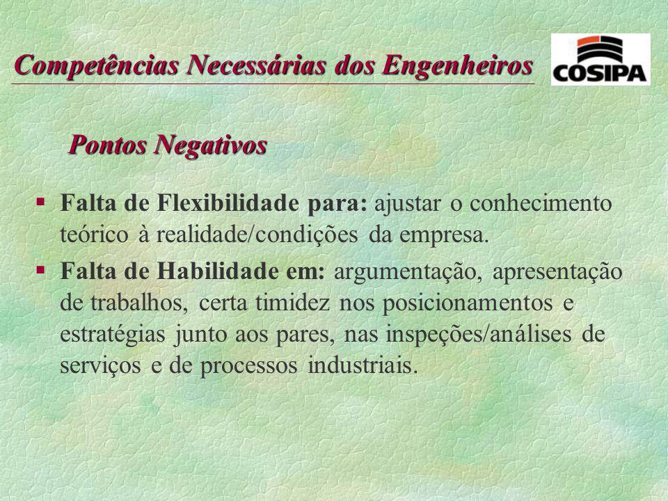 Competências Necessárias dos Engenheiros Pontos Positivos: §Habilidade em: abertura para mudanças, curiosidade, interesse, persistência em atingir res
