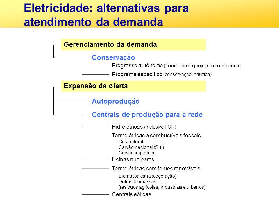 Eletricidade: alternativas para atendimento da demanda Gerenciamento da demanda Conservação Expansão da oferta Autoprodução Centrais de produção para