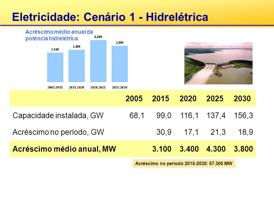 Eletricidade: Cenário 1 - Hidrelétrica 20052015202020252030 Capacidade instalada, GW68,199,0116,1137,4156,3 Acréscimo no período, GW30,917,121,318,9 A