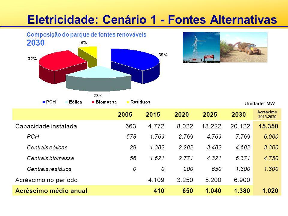 Eletricidade: Cenário 1 - Fontes Alternativas 20052015202020252030 Acréscimo 2015-2030 Capacidade instalada6634.7728.02213.22220.12215.350 PCH5781.769