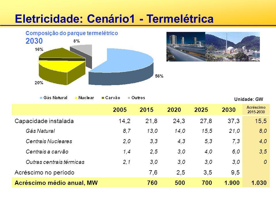 Eletricidade: Cenário1 - Termelétrica 20052015202020252030 Acréscimo 2015-2030 Capacidade instalada14,221,824,327,837,315,5 Gás Natural8,713,014,015,5