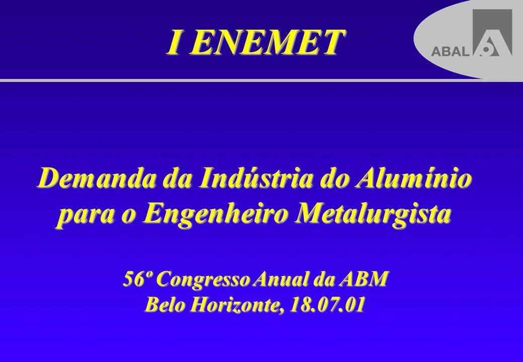 I ENEMET Demanda da Indústria do Alumínio para o Engenheiro Metalurgista 56º Congresso Anual da ABM Belo Horizonte, 18.07.01