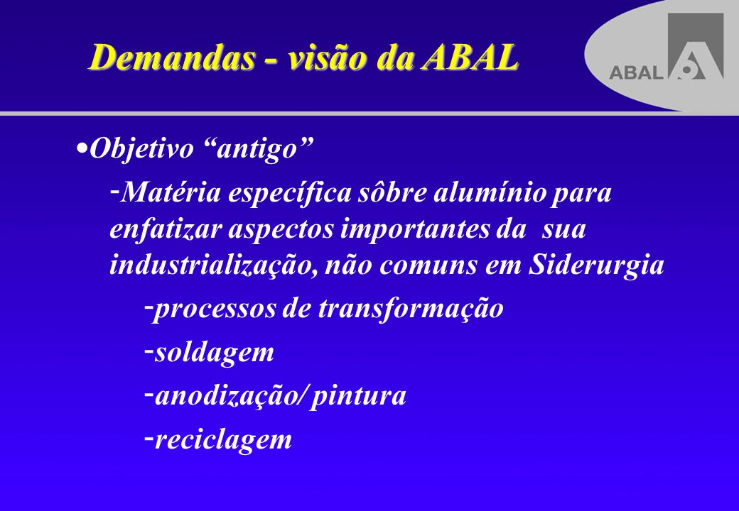 Demandas - visão da ABAL Objetivo antigo - - Matéria específica sôbre alumínio para enfatizar aspectos importantes da sua industrialização, não comuns
