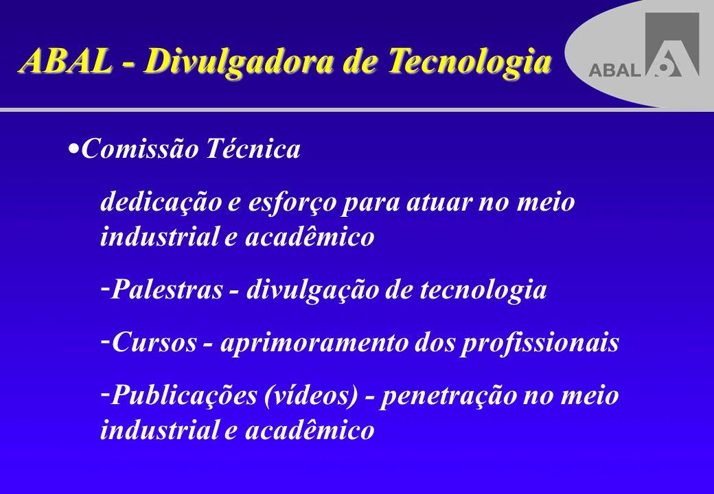 ABAL - Divulgadora de Tecnologia Comissão Técnica dedicação e esforço para atuar no meio industrial e acadêmico - - Palestras - divulgação de tecnolog