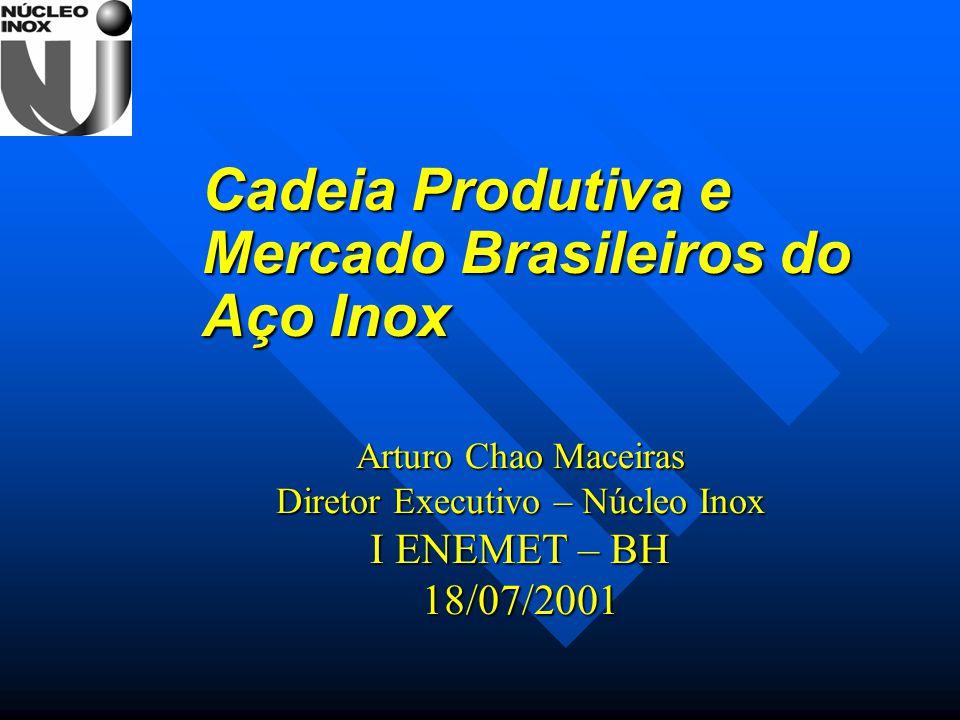 Arturo Chao Maceiras Diretor Executivo – Núcleo Inox I ENEMET – BH 18/07/2001 Cadeia Produtiva e Mercado Brasileiros do Aço Inox