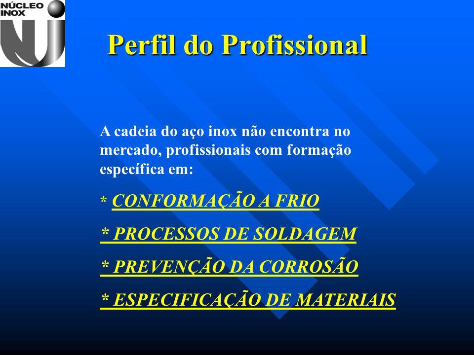 Perfil do Profissional A cadeia do aço inox não encontra no mercado, profissionais com formação específica em: * CONFORMAÇÃO A FRIO * PROCESSOS DE SOL