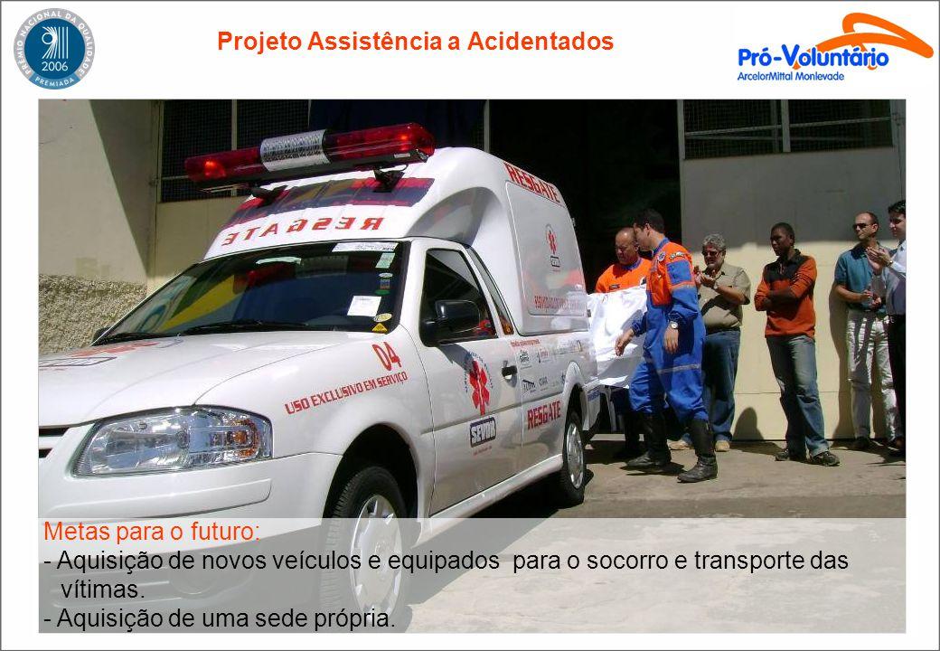Projeto Assistência a Acidentados Metas para o futuro: - Aquisição de novos veículos e equipados para o socorro e transporte das vítimas. - Aquisição