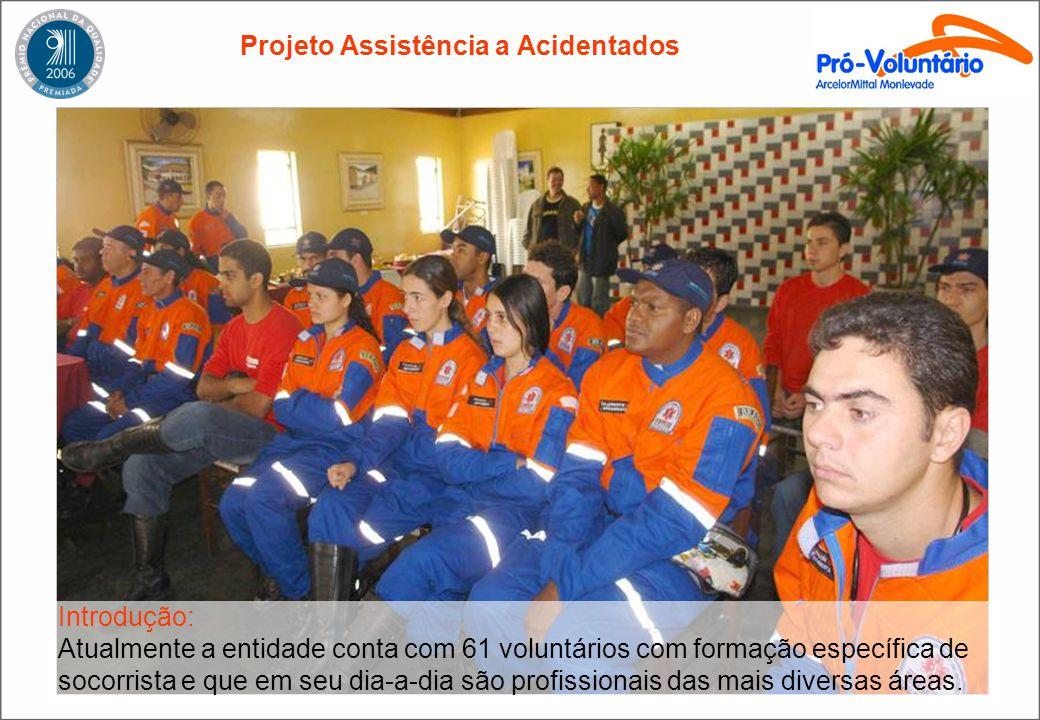 Projeto Assistência a Acidentados Introdução: Atualmente a entidade conta com 61 voluntários com formação específica de socorrista e que em seu dia-a-