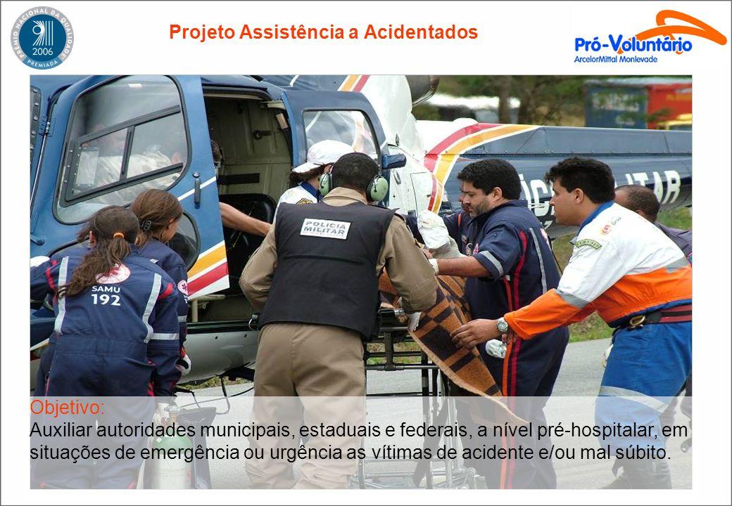 Projeto Assistência a Acidentados Objetivo: Auxiliar autoridades municipais, estaduais e federais, a nível pré-hospitalar, em situações de emergência ou urgência as vítimas de acidente e/ou mal súbito.