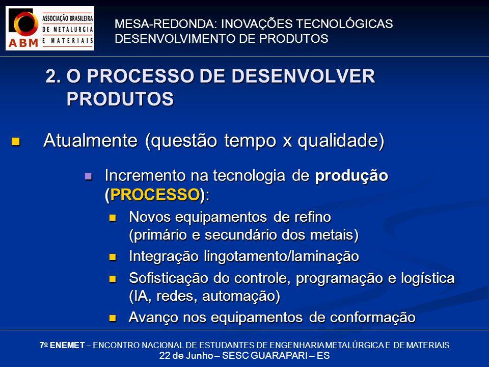 MESA-REDONDA: INOVAÇÕES TECNOLÓGICAS DESENVOLVIMENTO DE PRODUTOS 7 o ENEMET – ENCONTRO NACIONAL DE ESTUDANTES DE ENGENHARIA METALÚRGICA E DE MATERIAIS 22 de Junho – SESC GUARAPARI – ES Atualmente (questão tempo x qualidade) Atualmente (questão tempo x qualidade) Incremento na tecnologia de produção (PROCESSO): Incremento na tecnologia de produção (PROCESSO): Novos equipamentos de refino (primário e secundário dos metais) Novos equipamentos de refino (primário e secundário dos metais) Integração lingotamento/laminação Integração lingotamento/laminação Sofisticação do controle, programação e logística (IA, redes, automação) Sofisticação do controle, programação e logística (IA, redes, automação) Avanço nos equipamentos de conformação Avanço nos equipamentos de conformação 2.