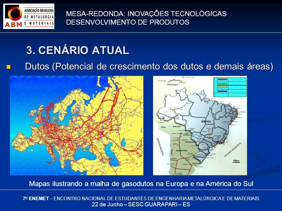 MESA-REDONDA: INOVAÇÕES TECNOLÓGICAS DESENVOLVIMENTO DE PRODUTOS 7 o ENEMET – ENCONTRO NACIONAL DE ESTUDANTES DE ENGENHARIA METALÚRGICA E DE MATERIAIS 22 de Junho – SESC GUARAPARI – ES Dutos (Potencial de crescimento dos dutos e demais áreas) Dutos (Potencial de crescimento dos dutos e demais áreas) Mapas ilustrando a malha de gasodutos na Europa e na América do Sul 3.