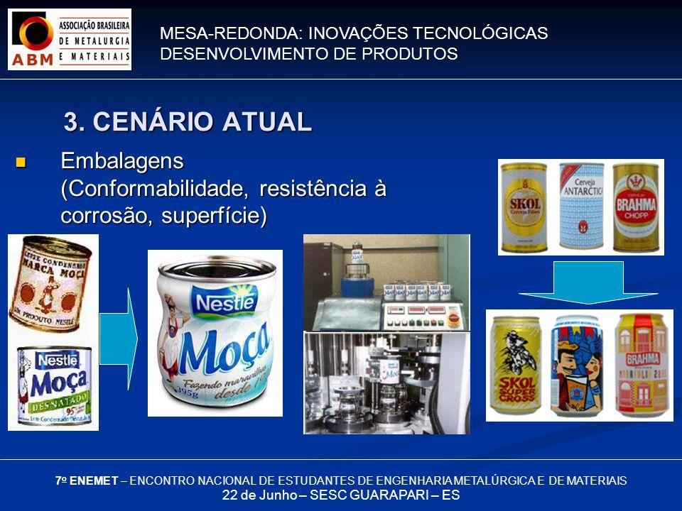 MESA-REDONDA: INOVAÇÕES TECNOLÓGICAS DESENVOLVIMENTO DE PRODUTOS 7 o ENEMET – ENCONTRO NACIONAL DE ESTUDANTES DE ENGENHARIA METALÚRGICA E DE MATERIAIS 22 de Junho – SESC GUARAPARI – ES Embalagens (Conformabilidade, resistência à corrosão, superfície) Embalagens (Conformabilidade, resistência à corrosão, superfície) 3.