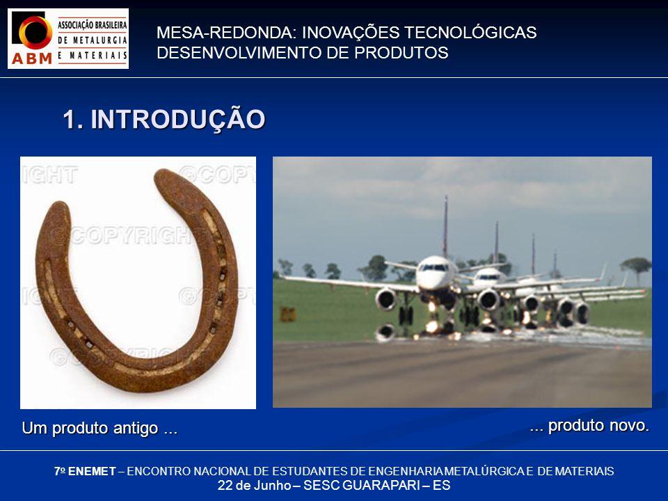 MESA-REDONDA: INOVAÇÕES TECNOLÓGICAS DESENVOLVIMENTO DE PRODUTOS 7 o ENEMET – ENCONTRO NACIONAL DE ESTUDANTES DE ENGENHARIA METALÚRGICA E DE MATERIAIS 22 de Junho – SESC GUARAPARI – ES Investimentos na Siderurgia Brasileira 3.
