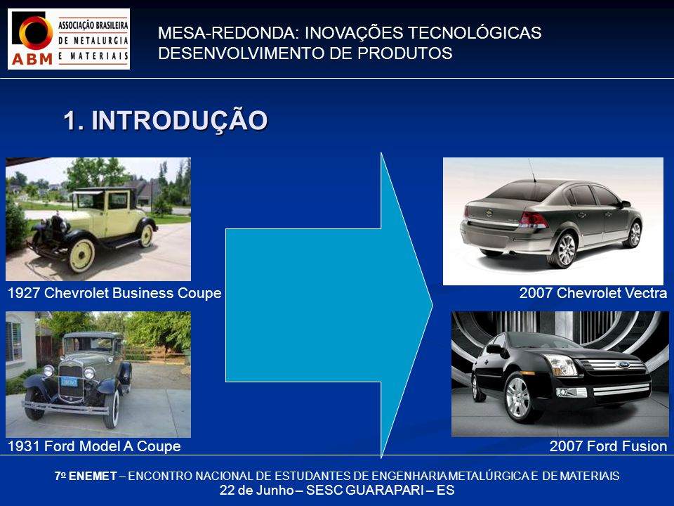 MESA-REDONDA: INOVAÇÕES TECNOLÓGICAS DESENVOLVIMENTO DE PRODUTOS 7 o ENEMET – ENCONTRO NACIONAL DE ESTUDANTES DE ENGENHARIA METALÚRGICA E DE MATERIAIS 22 de Junho – SESC GUARAPARI – ES 1927 Chevrolet Business Coupe 1931 Ford Model A Coupe2007 Ford Fusion 2007 Chevrolet Vectra 1.