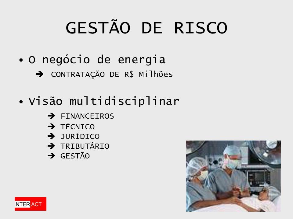GESTÃO DE RISCO O negócio de energia CONTRATAÇÃO DE R$ Milhões Visão multidisciplinar FINANCEIROS TÉCNICO JURÍDICO TRIBUTÁRIO GESTÃO