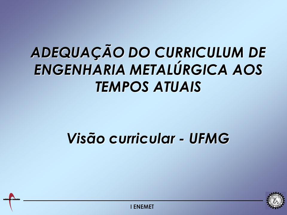 I ENEMET ADEQUAÇÃO DO CURRICULUM DE ENGENHARIA METALÚRGICA AOS TEMPOS ATUAIS Visão curricular - UFMG