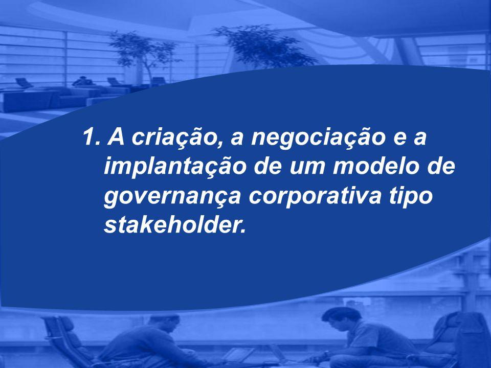 1. A criação, a negociação e a implantação de um modelo de governança corporativa tipo stakeholder.