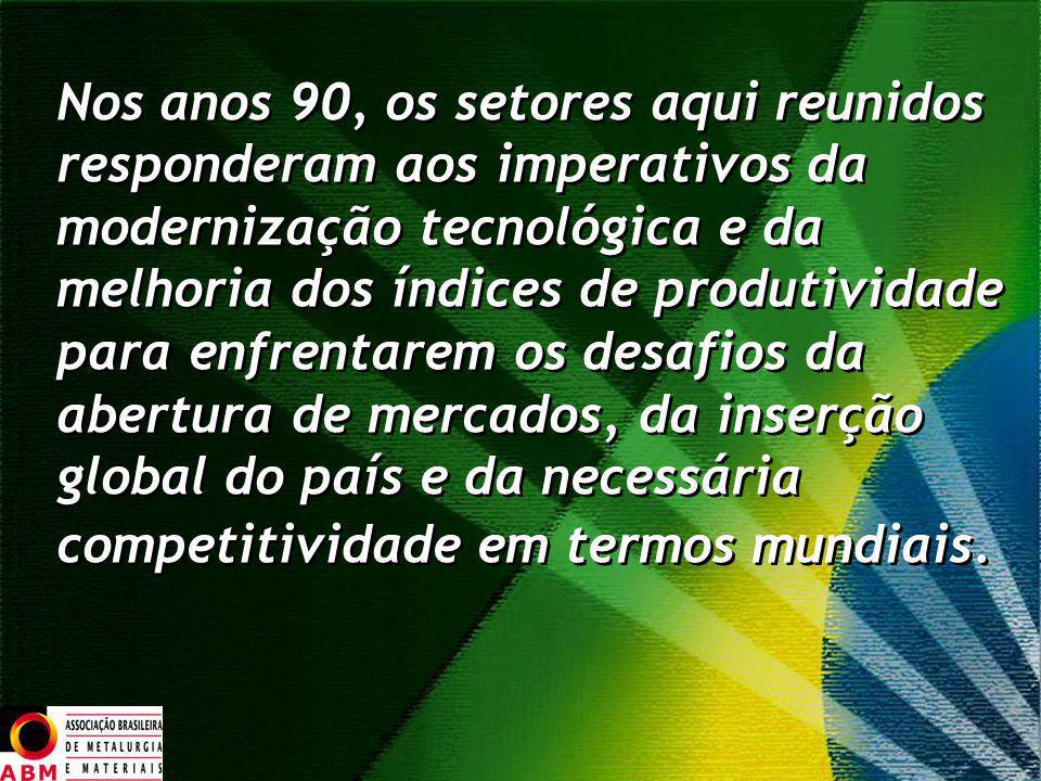 Nos anos 90, os setores aqui reunidos responderam aos imperativos da modernização tecnológica e da melhoria dos índices de produtividade para enfrenta