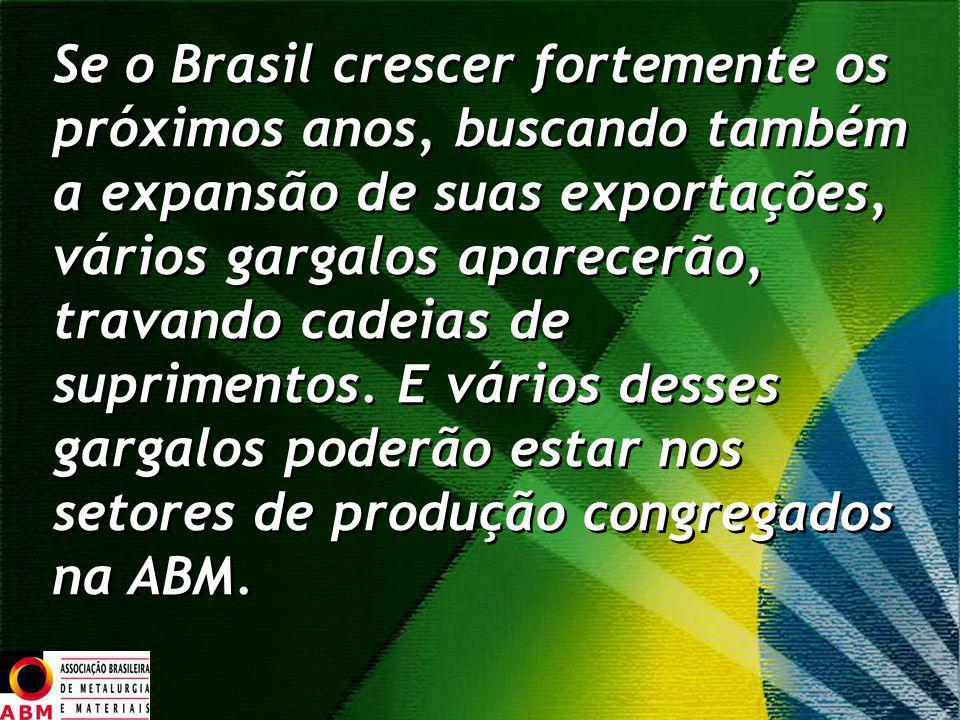 Se o Brasil crescer fortemente os próximos anos, buscando também a expansão de suas exportações, vários gargalos aparecerão, travando cadeias de supri