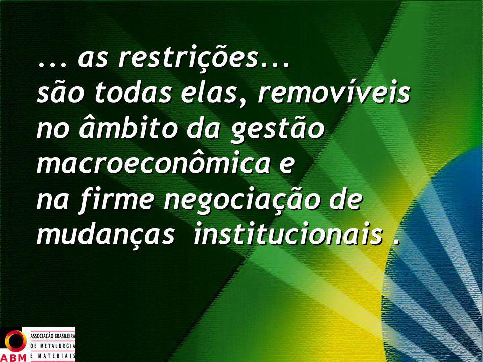... as restrições... são todas elas, removíveis no âmbito da gestão macroeconômica e na firme negociação de mudanças institucionais.... as restrições.