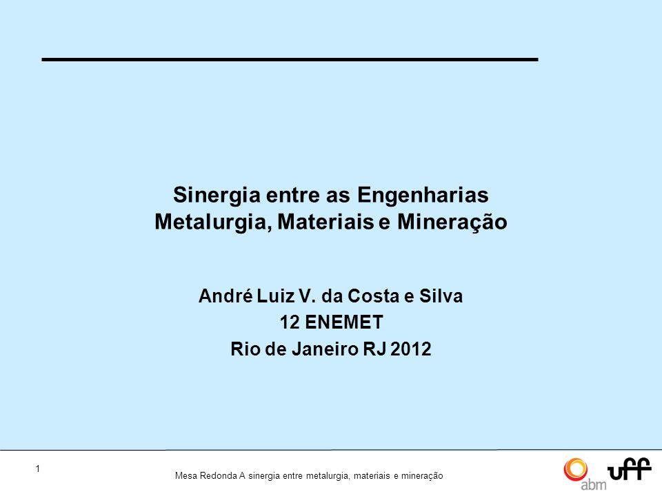 1 Mesa Redonda A sinergia entre metalurgia, materiais e mineração Sinergia entre as Engenharias Metalurgia, Materiais e Mineração André Luiz V.
