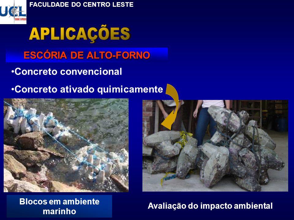 Blocos em ambiente marinho Avaliação do impacto ambiental ESCÓRIA DE ALTO-FORNO Concreto convencional Concreto ativado quimicamente FACULDADE DO CENTRO LESTE