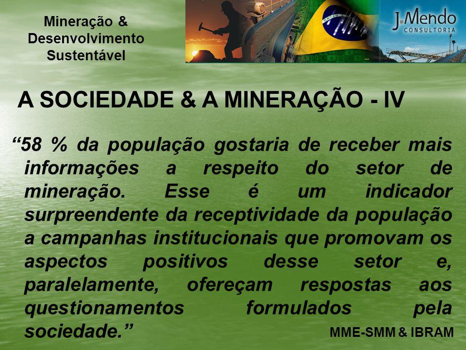 A SOCIEDADE & A MINERAÇÃO - IV 58 % da população gostaria de receber mais informações a respeito do setor de mineração. Esse é um indicador surpreende