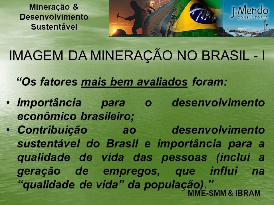 IMAGEM DA MINERAÇÃO NO BRASIL - I Os fatores mais bem avaliados foram: Importância para o desenvolvimento econômico brasileiro; Contribuição ao desenv