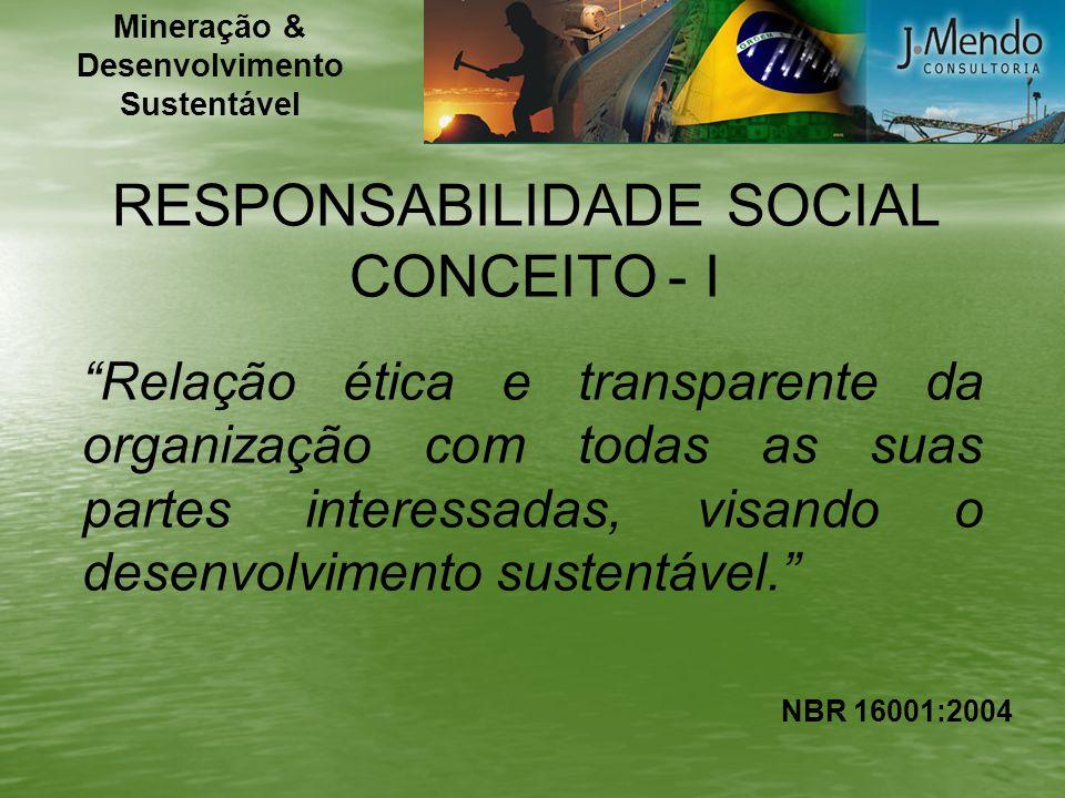 RESPONSABILIDADE SOCIAL CONCEITO - I Relação ética e transparente da organização com todas as suas partes interessadas, visando o desenvolvimento sust