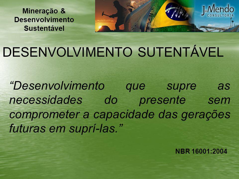 NBR 16001:2004 DESENVOLVIMENTO SUTENTÁVEL Desenvolvimento que supre as necessidades do presente sem comprometer a capacidade das gerações futuras em s