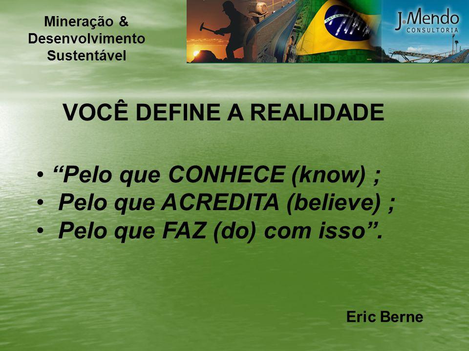 VOCÊ DEFINE A REALIDADE Pelo que CONHECE (know) ; Pelo que ACREDITA (believe) ; Pelo que FAZ (do) com isso. Eric Berne Mineração & Desenvolvimento Sus