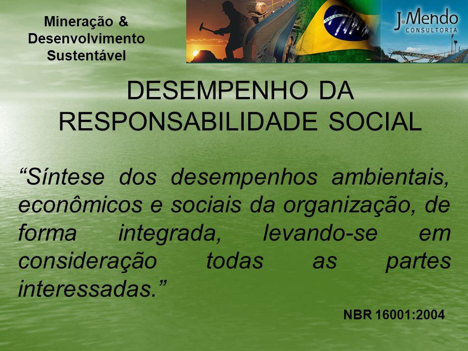 NBR 16001:2004 DESEMPENHO DA RESPONSABILIDADE SOCIAL Síntese dos desempenhos ambientais, econômicos e sociais da organização, de forma integrada, leva
