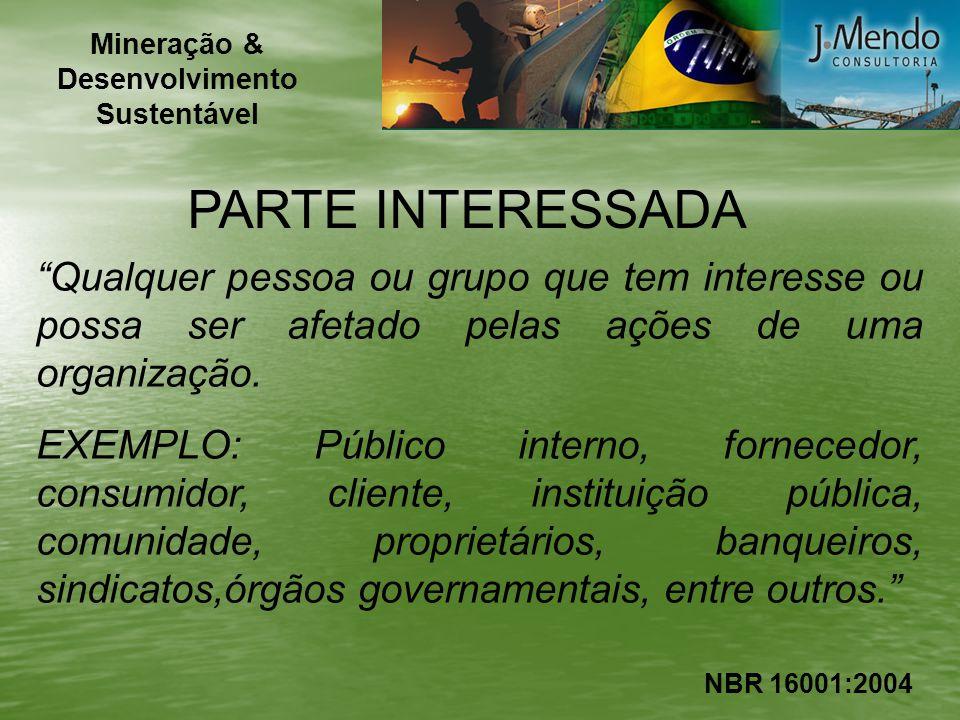 PARTE INTERESSADA Qualquer pessoa ou grupo que tem interesse ou possa ser afetado pelas ações de uma organização. EXEMPLO: Público interno, fornecedor