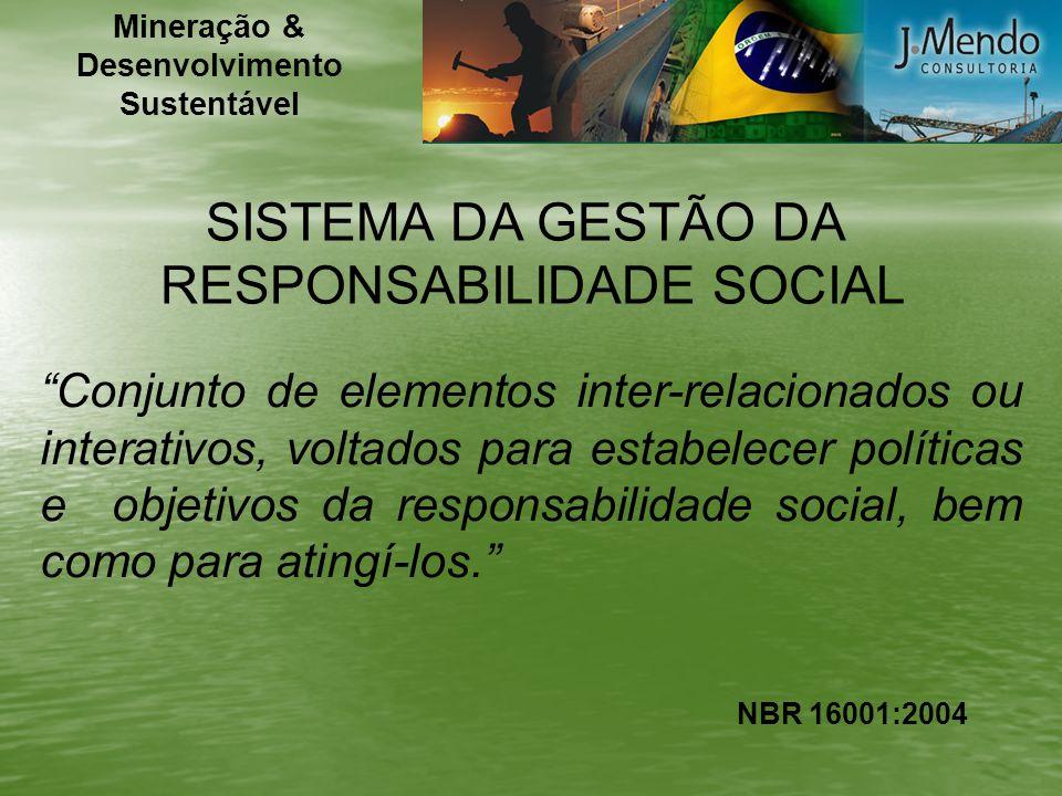 SISTEMA DA GESTÃO DA RESPONSABILIDADE SOCIAL Conjunto de elementos inter-relacionados ou interativos, voltados para estabelecer políticas e objetivos