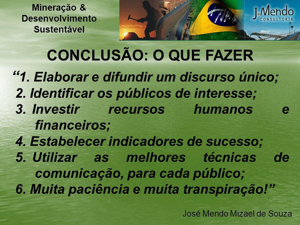 José Mendo Mizael de Souza CONCLUSÃO: O QUE FAZER 1. Elaborar e difundir um discurso único; 2. Identificar os públicos de interesse; 3.Investir recurs