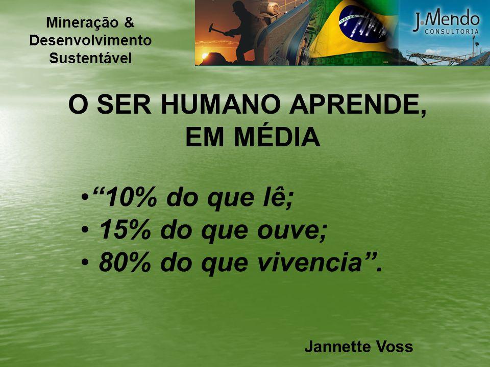 O SER HUMANO APRENDE, EM MÉDIA 10% do que lê; 15% do que ouve; 80% do que vivencia. Jannette Voss Mineração & Desenvolvimento Sustentável